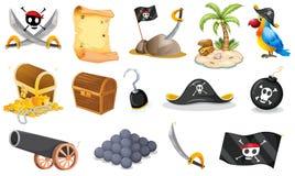 Cosas relacionadas con un pirata ilustración del vector