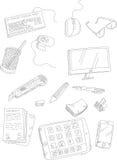 Cosas y efectos de escritorio del ordenador del garabato Foto de archivo