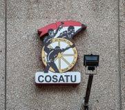 Cosatu logo på en vägg Arkivfoto