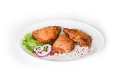 Coscia di pollo al forno nel forno Fotografia Stock Libera da Diritti