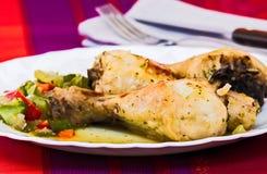 Coscie arrostite del pollo Immagini Stock