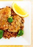 Coscie di pollo con le lenticchie Fotografia Stock Libera da Diritti