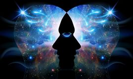 Coscienza capa umana di unità di chiarimento di ispirazione dell'universo illustrazione vettoriale