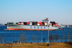 Container ship in New York Harbor royalty free stock photos