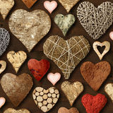 Cose di legno a forma di del cuore Fotografie Stock