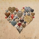 Cose a forma di del cuore nella forma del cuore Fotografie Stock
