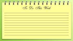 Cose per fare lista questo giallo di settimana su verde Immagini Stock