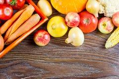 Cosecha de la acción de gracias de las verduras del otoño, alimento biológico sano crudo en fondo de madera Imagenes de archivo