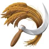 Cosecha de la escuela vieja del trigo (icono) imagenes de archivo