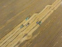 Cosecha de la máquina segador del trigo Grano agrícola de la cosecha de las máquinas Imágenes de archivo libres de regalías