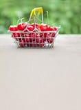 Cosecha de las bayas de la cereza en cesta de compras plantilla con sabor a fruta de la vida del verano aún Campo de la profundid Foto de archivo libre de regalías