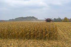 Cosecha de maíz en un campo con una cosechadora moderna en un día nublado, seguido cargando sobre un camión foto de archivo libre de regalías