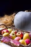 Cosecha de manzanas rojas en una cesta y hojas de otoño del whith de la calabaza fotografía de archivo