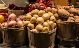 Cosecha de patatas y de cebollas en una cesta Fotografía de archivo
