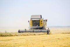 Cosecha de trigo con una máquina segadora Imagenes de archivo