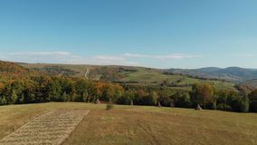 Cosecha del heno y campos verdes en las colinas almacen de video