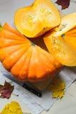 Cosecha fresca de la calabaza anaranjada Fotos de archivo