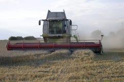 Cosecha mecanizada una cosecha del trigo foto de archivo