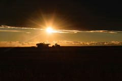 Cosechadora en campo en la puesta del sol Foto de archivo libre de regalías