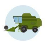 Cosechadora industrial del tractor del verde de la maquinaria del equipamiento agrícola de la agricultura y coche rural del maíz  Fotografía de archivo
