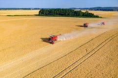 Cosechadoras y tractores que trabajan en el campo de trigo Imagen de archivo libre de regalías