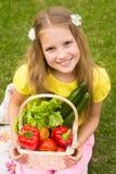 Cosechas de las verduras - muchacha sonriente con la cesta de verduras Imagen de archivo libre de regalías