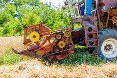 Cosechas maduras del trigo de la cosecha mecanizada Imágenes de archivo libres de regalías
