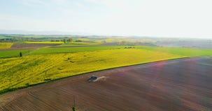 Cosechas vegetales crecientes agrícolas de la tierra de cultivo de la visión aérea metrajes