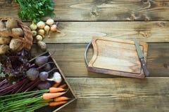 Coseche las verduras frescas de la zanahoria, remolacha, cebolla, ajo en el viejo tablero de madera Visión superior Jardinería Co Fotografía de archivo