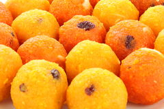 Coseup van Diwali-snoepjes Motichoor Ladoo royalty-vrije stock fotografie