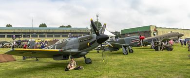 Collection of old world war two planes at an AirShow in UK. Cosford Shropshire UK - June 10 2018 Collection of old world war two planes stock images