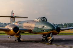 A Gloster Meteor as it stands in the morning light stock photo