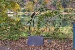 Coshocton Ohio cykelskulptur arkivbild