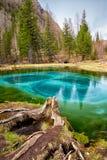 Cosiddetto lago blu del geyser in montagne di Altai Fotografia Stock Libera da Diritti