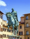 Cosimo Medici's statue on the Piazza della Signoria by Giambologna in Florence, Italy. Royalty Free Stock Photos