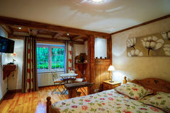 Cosiness wooden apartment interior, alsacien classic style Royalty Free Stock Photo