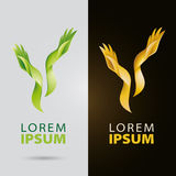 Cosmético e logotipo dos serviços da beleza com mãos orgânicas plantlike ilustração stock