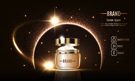 Cosméticos belleza, anuncios del vector de la crema femenina superior para el cuidado de piel Plantilla para el cartel del diseño libre illustration