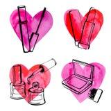 Cosméticos con los corazones stock de ilustración