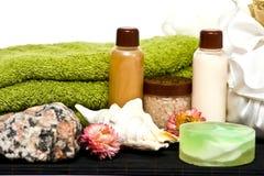 Cosméticos da higiene do chuveiro para termas Fotografia de Stock