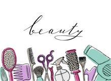 Cosméticos dibujados mano fijados Belleza y maquillaje stock de ilustración