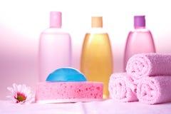 Cosméticos do cuidado do banho Foto de Stock
