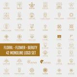 Cosméticos do salão de beleza dos termas da beleza do sumário da coleção de Lotus Flower Logo fotos de stock