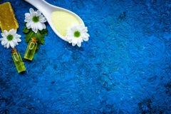 Cosméticos dos termas da camomila com os ingredientes ervais naturais Sal dos termas da camomila, sabão, óleo na cópia azul da op imagem de stock royalty free