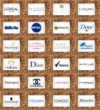Cosméticos famosos superiores e logotipos e tipos da composição imagem de stock