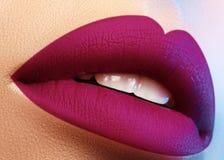Cosméticos, maquillaje Lápiz labial brillante en los labios Primer de la boca femenina hermosa con maquillaje púrpura del labio P foto de archivo