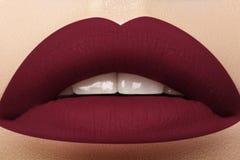 Cosméticos, maquillaje Lápiz labial brillante en los labios Primer de la boca femenina hermosa con maquillaje rojo oscuro del lab Imagen de archivo libre de regalías