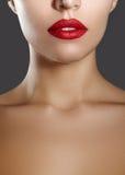 Cosméticos, maquillaje Lápiz labial brillante en los labios Primer de la boca femenina hermosa con maquillaje rojo y rojo del lab Foto de archivo libre de regalías