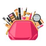 Cosméticos para el skincare y el maquillaje en bolso Fondo para el catálogo o la publicidad ilustración del vector