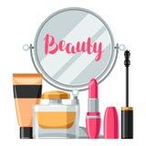 Cosméticos para el skincare y el maquillaje Fondo para el catálogo o la publicidad libre illustration